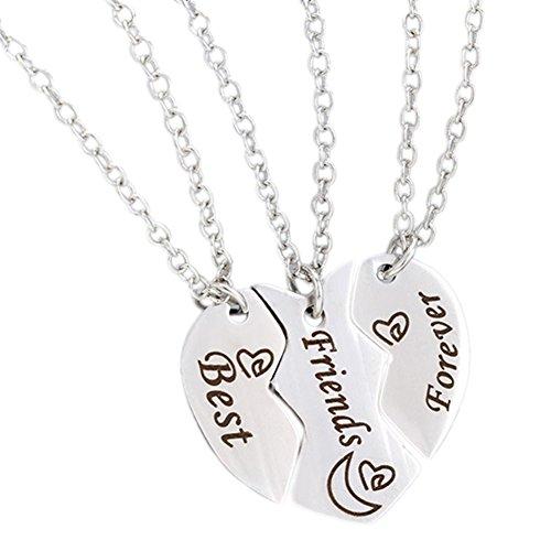 GuDeKe Mejores Amigos para Siempre 3 Piezas Puzzle Conjunto Collar Conjunto Empalme Broken Heart Colgante Amistad Regalo de la joyería