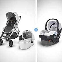 UPPAbaby 2018/19 model Vista Stroller-Bryce (White Marl/Silver/Chestnut Leather), includes MESA Infant Car Seat-Bryce (White & Grey Marl)