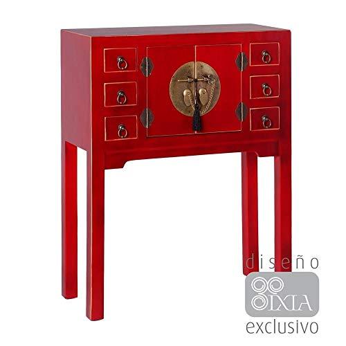 PEÑA VARGAS Mueble Auxiliar-Recibidor Oriente Rojo 2 Puertas 6 Cajones (63x26x80), Madera, 63X80X26 cm