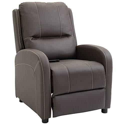 HOMCOM Relaxsessel Fernsehsessel Wohnzimmer 165° Liegewinkel 160 kg belastbar PU Braun 70 x 93 x 100 cm