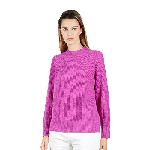 BRUNELLA GORI Pullover Frau runder Halsausschnitt Sweater, Jumper, Guernsey 100% Lambswool Farbe gelb LICHT VIOLETT Größe XL