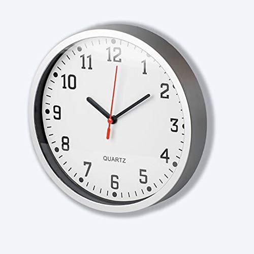 Primo - Reloj de pared moderno con números grandes, esfera blanca, analógico, redondo, para cocina, salón, dormitorio, oficina (marco plateado clásico)