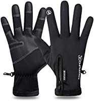 H HOME-MART Men's Cycling Gloves with Touch Screen Fingers,Winter Thermal Warm Gloves for Men and Women Windproof Water...