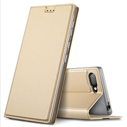 GeeMai BlackBerry Key2 Hülle,Leder Hülle Flip Case Hüllen Schutzhülle handyhüllen für BlackBerry Key2 Smartphone, Gold