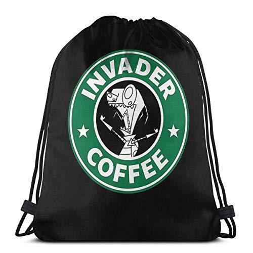 GeorgoaKunk Invader Coffee Zaino Sportivo Pieghevole Pieghevole Zaino da Palestra Zaino con Coulisse