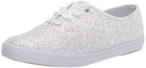 Keds Women's Champion Kate Spade Glitter Sneaker, White, 7
