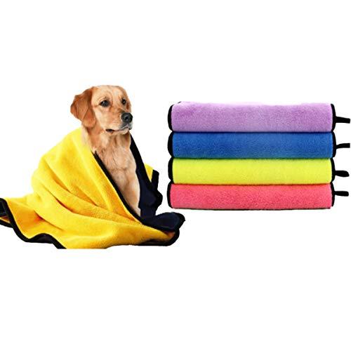 Toalla para perros,Toalla de baño de microfibra de secado rápido para perros, toallas de secado rápido, toalla absorbente adecuada para perros pequeños y medianos cachorros, 140 x 70 cm (4pcs)