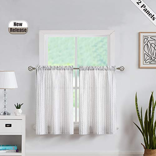Cafe Window Curtain Tiers -Boho Rustic Striped Semi Sheer Pinstripe Small Window Drapes Rod Pocket for Living Room & Bedroom, Kitchen, Villa,Laudry, 27 Inch Wide x 36 Inch Long, White/Black