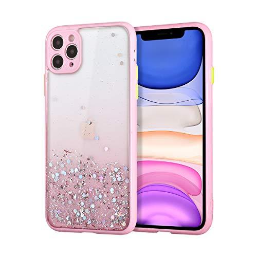 EYZUTAK Carcasa para iPhone 11 de 6,1 pulgadas, diseño de purpurina transparente, a prueba de golpes, color rosa