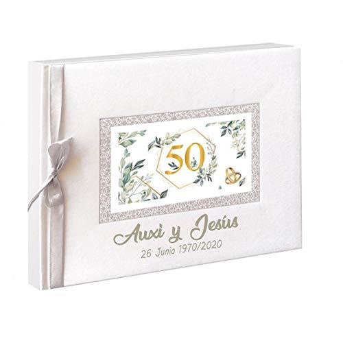 50 Aniversario Libro de firmas para Bodas de Oro. Personalizado con Nombres...