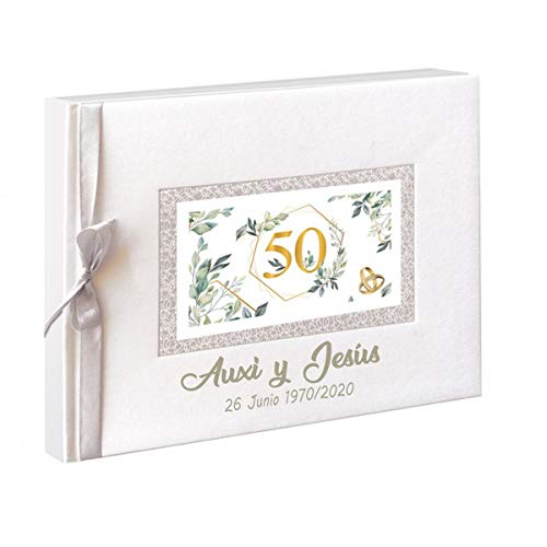 50 Aniversario Libro de firmas para Bodas de Oro. Personalizado con Nombres y Fechas Grabado en la Portada