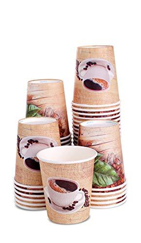 MGGI Trading 50 x 8oz Kaffeebecher Kraft 250ml Coffee-to-Go Papier Tassen Edles Design Pappbecher Papierbecher Für Cappuccino Latte Macchiato Milchkaffee Café Flüssigkeit bis zu 15 min halten