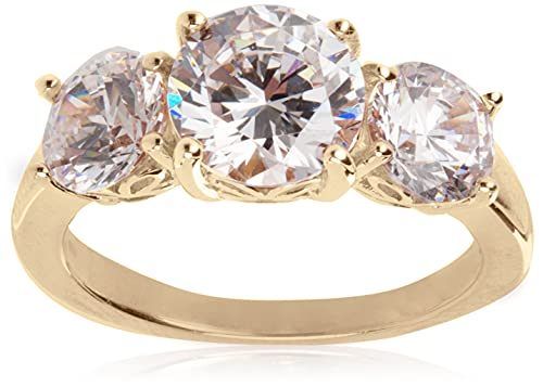 Amazon Collection Yellow-Gold-Plated Sterling Silver Round 3-Stone Ring made with Swarovski Zirconia (3 cttw), Size 7