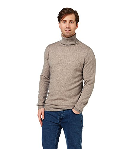 Mens Cashmere and Merino Turtle Neck Knitted Sweater Pepper, XXL