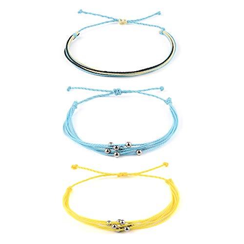 SUNSH 3Pcs Waterproof Boho Anklet Bracelets for Women Teen Girls Adjustable Handmade Woven String Hawaii Jewelry Beach Wrist Anklet Lover Gifts