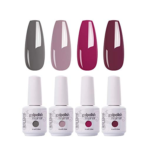 Arte Clavo 15ml BRIDESMAID BEAUTY Classic Gel Nail Polish Set - Nude Gray Pink Red 4 Colors Gel Polish Kit Popular Nail Art Design Soak Off LED Lamp Nail Polish Gel Manicure Kit Christmas Gifts New Year Holiday Set B20