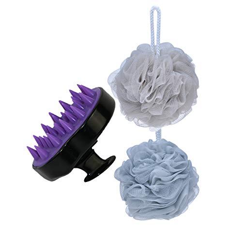 Honor Boutique Hair Scalp Massager Shampoo Brush & Bath Shower Sponge Loofahs (60g/pcs) Mesh Pouf Shower Ball Bundle Pack (Black)