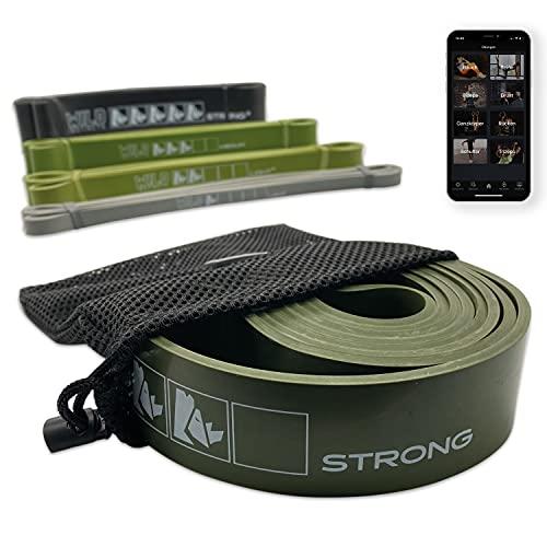Wild Instincts Pull-Up Band Strong 4,5cm mit Tasche | Widerstandsband stark | Resistance Band | Fitnessband mit WebApp Trainingsguide | Klimmzughilfe | Trainingsband für Calisthenics und Kraftsport
