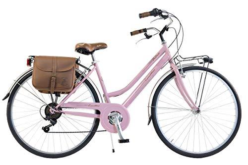Via Veneto by Canellini Bicicletta Bici Citybike CTB Donna Vintage Retro Via Veneto Acciaio Rosa Taglia 46