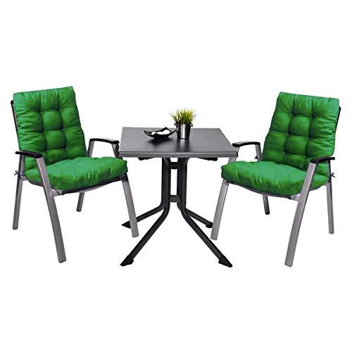 Pack 2 Cojines con Respaldo de Silla Jardin Conjunto Cojin de Asiento para Interior y Exterior Cómodo. Cojines para sillas Comedor, mecedoras, bancosterraza (Verde)
