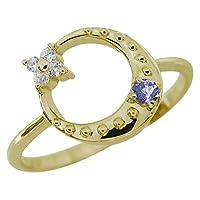 [プレジュール]タンザナイト 星 月 スターリング 指輪 K10イエローゴールド 一粒 リングサイズ13号