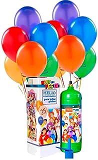 Bombonas Helio Desechable 0.25m3 con 30 Globos Pastel y Lazos