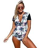 Taigood Damen Badeanzug Blumen Bikini Drucken Strandmode Reißverschluss Design Swimsuit Einteilige Schwimmanzug