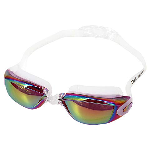 Good Bag Mirrored Swim Goggle Soft and Comfortable Swimming Goggles- Anti-Fog UV Protection - Best Tinted Swimming Goggles with Case for Big Kids, Men or Women Color Purple