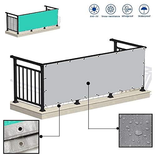 LJIANW Écran de confidentialité pour Balcon, Polyvalent Étanche Housse De Bâche Abri De Tente Pare-Brise Anti-UV for Balcon Plate-Forme Camping, 165gsm, 56Tailles (Color : Gray+Green, Size : 6x6m)