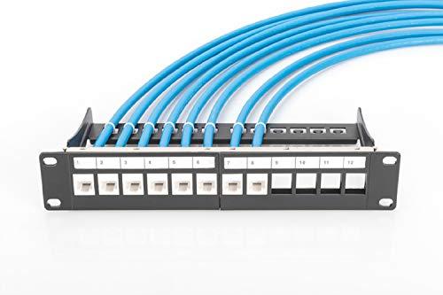 DIGITUS Patch-Panel Modular - 12 Ports - 10-Zoll Rack-Montage 1HE - Keystone-Modul Verteiler-Feld - Geschirmt - Schwarz