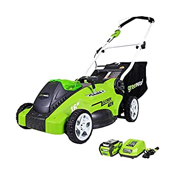 Greenworks 40V 16-Inch Cordless  2-In-1  Push Lawn Mower 4.0Ah Battery and Charger Included 25322