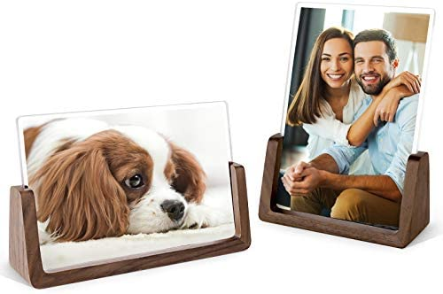 Mixoo 4x6 Wood Photo Picture Frame 2 Pack Rustic Wooden Picture Frame with Walnut Wood Base product image