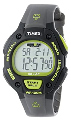 Timex Men's T5K692 Ironman Classic 30 Full-Size Gray/Black/Green Resin Strap Watch by Timex
