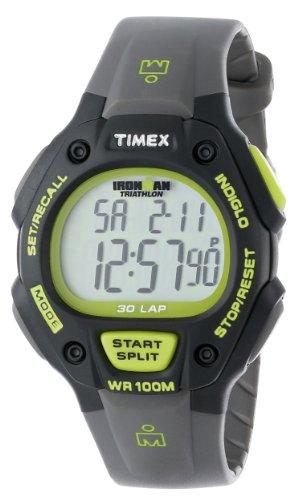Timex Men's T5K692 Ironman Classic 30 Full-Size Gray/Black/Green Resin Strap Watch