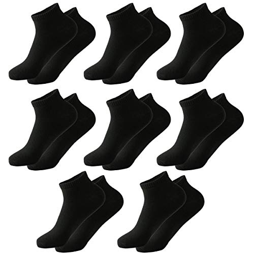 MOCOCITO 6/8/12 Pares Calcetines Cortos Hombre & Mujer | Calcetines Deporte | Calcetines Mujer Divertidos | Calcetines Invisibles Mujer | Talla:35-48 (8 Pares Negro, XL, numeric_43)