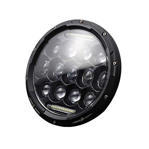 Domilay LáMpara de Faro LED Redonda de 7 Pulgadas y 200 W con Luz de CirculacióN Diurna DRL, Haz Alto y Bajo para Motocicleta JK TJ LJ