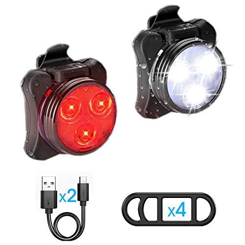 Ozvavzk Luz Bicicleta Recargable USB, Luces Bicicleta Delantera y Trasera Lámpara 4 Modo Reflector Bici Seguridad Faro de Señal con mpermeable Clip/Correa Silicona 2 Cable USB.