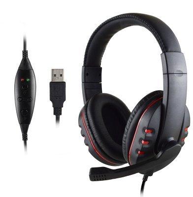 Canamite® Stereo Micphone Gaming Headset Kopfhörer Headphone Mic für Playstation PS3 PC (PS3, Rot Schwarz)