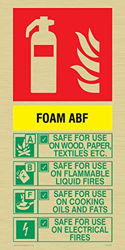 Viking Signs FZ1404-P12-GV ABF Foam Brandblusser Sign, Goud, Vinyl, 200 mm H x 100 mm W