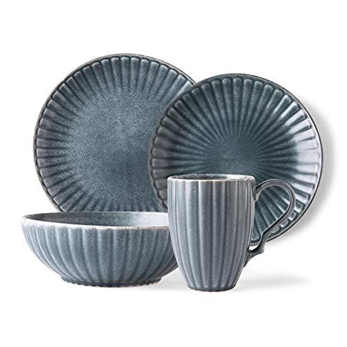 CCAN Juego de vajilla Fina, Juegos de vajilla básica para 1 Persona, Juegos de vajilla de cerámica Moderna, combinación de Mesa de Porcelana Incluye Platos de Cena, ensaladeras y Tazas, Apto para