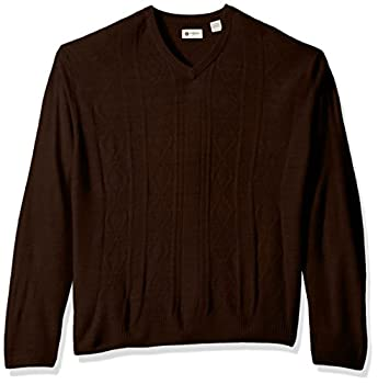 Haggar Men s Soft Acrylic Solid Cable Knit V Neck Sweater Copper Heather S