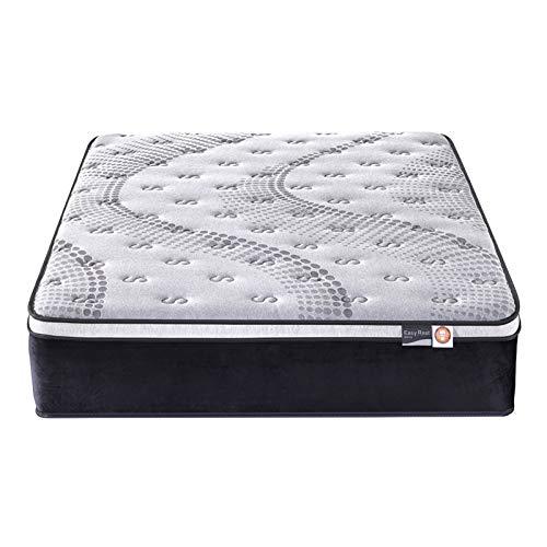 Zhantie Colchón de 34 cm con 4 asas, 7 zonas de bolsillo de resorte, espuma en forma de huevo, almohadilla para cama de huéspedes para el hogar, fácil de configurar