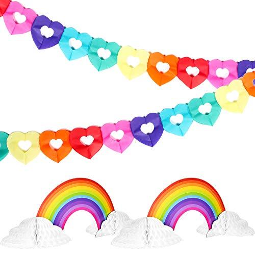 2 Piezas Centro de Mesa de Papel Nido de Abeja en Arcoiris Nube de Arcoiris y 2 Piezas Guirnalda de Corazones de Arcoiris Guirnalda Colgante Forma de Corazón para Cumpleaños Baby Shower
