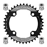 FOMTOR 38T 104 BCD Chainring Narrow Wide Chainring with Four Chainring Bolts for Road Bike, Mountain Bike, BMX MTB Bike (Black)