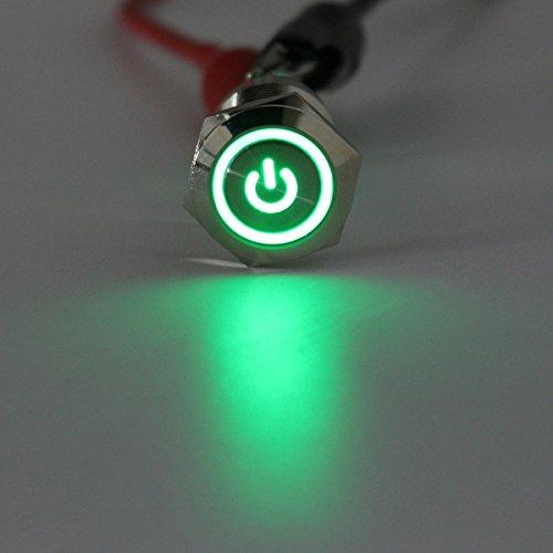 Módulo electrónico 12V 5 pin 19mm LED plata pulsador de acero pulsador interruptor de encendido impermeable Equipo electrónico de alta precisión (Color : Green)