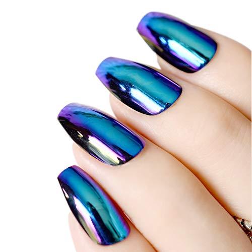 Spiegel Nägel Sarg Falsche Nägel Wunderschöner Spiegel Holographischer Chromeffekt Falsche Fingernägel Chamäleon Nägel Glitter falsche Nägel 24PCS