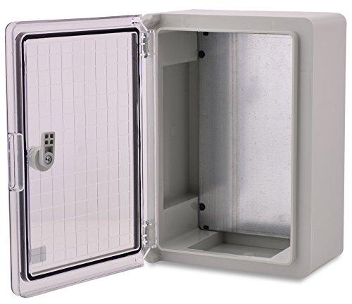 BOXEXPERT Caja de armario mural 350x250x150mm IP 65 gris RAL7035 transparente Caja de distribución para armario de distribución