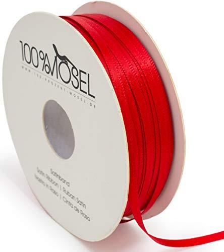 Nastro di raso rosso con doppio fiocco per decorazioni natalizie, matrimoni, battesimo, comunione e cresima., Poliestere, Colore: rosso, 3 mm x 100 m