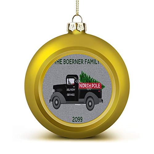3 Inch Christmas Ornament, North Pole Delivery Truck Xmas Ornaments, Keepsake Gift Memorial Peace & Happiness Christmas Decorations