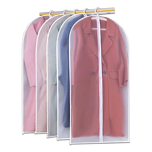 XIAOMAOMAO Lot de 5 housses de vêtements anti-poussière transparentes, pour vêtements, couverture, manteau, veste, veste, fermeture éclair complète (60 x 120 cm)